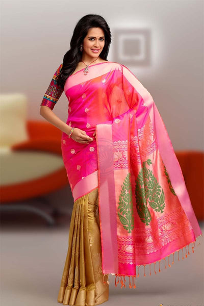 Adhesive Pink and Gold color Soft Silk Designer Saree