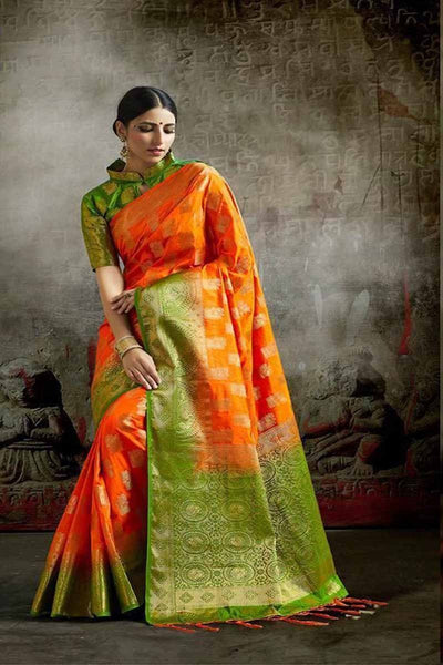 Adhesive Green and Orange color Soft Silk Designer Saree