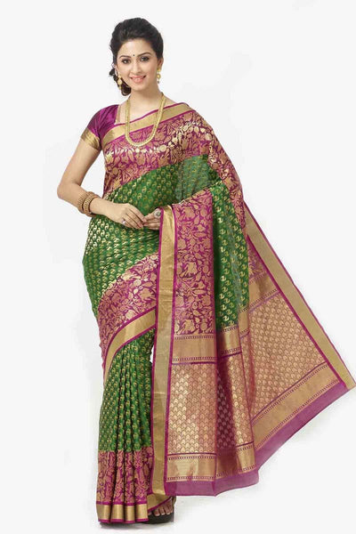 Adhesive Green and maroon color Soft Silk Designer Saree