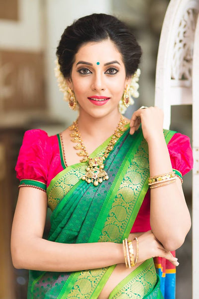 Adhesive Green color Soft Silk Designer Saree