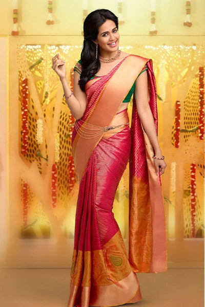 Adhesive Red and Orange color Soft Silk Designer Saree