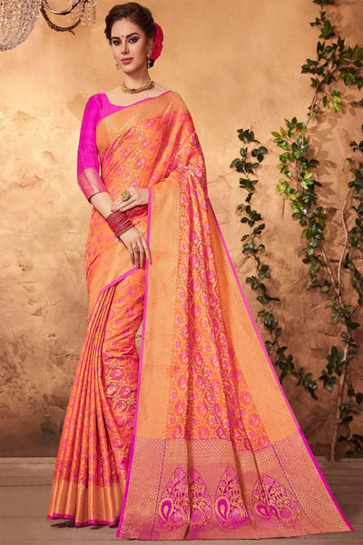 Adhesive Orange and Pink color Soft Silk Designer Saree