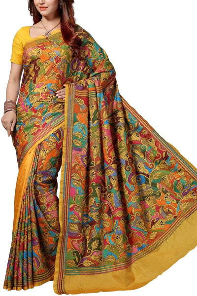 Adhesive Musterd Multi color Soft Silk Designer Saree
