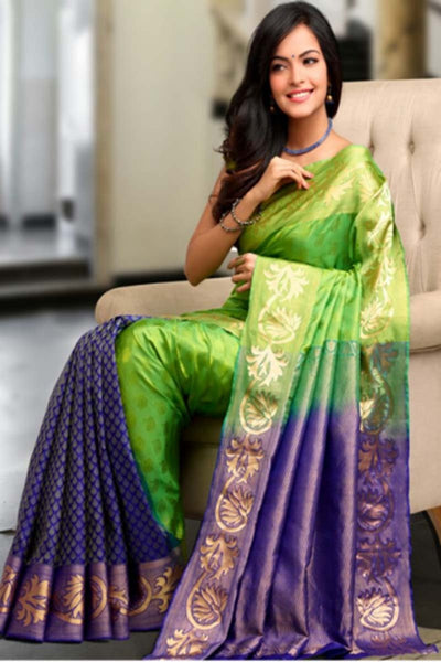 Adhesive Parrot and Blue color Soft Silk Designer Saree