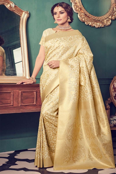 Adhesive Gold color Soft Silk Designer Saree