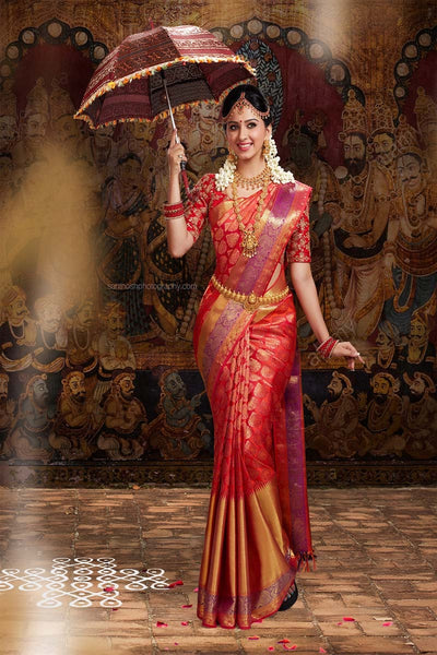 Adhesive Red colour Soft Silk Designer Saree