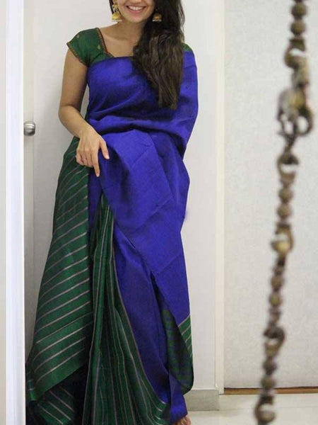Adhesive Blue Color Soft Silk Designer Saree