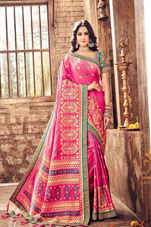 Traditional Pink Color Soft Silk Designer Saree