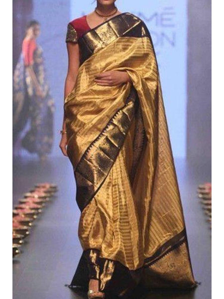 Adhesive Coffee color Soft Silk Designer Saree