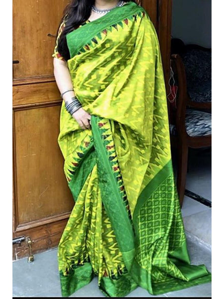 Adhesive Parrot Color Soft Silk Designer Saree