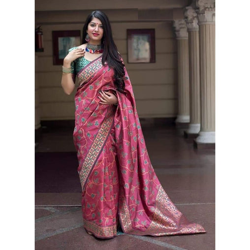 Adhesive Pink Color Soft Silk Designer Saree
