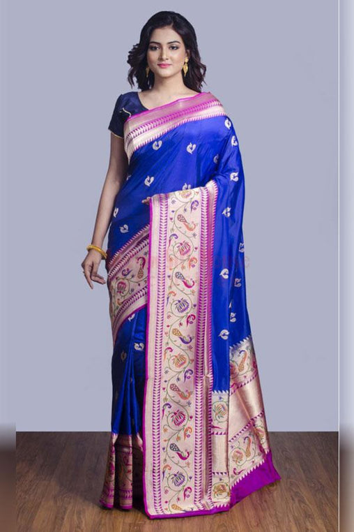 Fancy Blue And Pink Color Soft Silk Designer Saree
