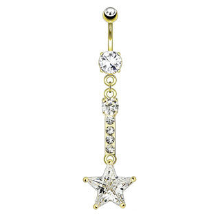 Star Chain Drop Dangle Navel Ring Clear Gem