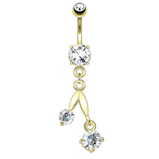 Offset Drop Dangle Navel Ring Clear Gem