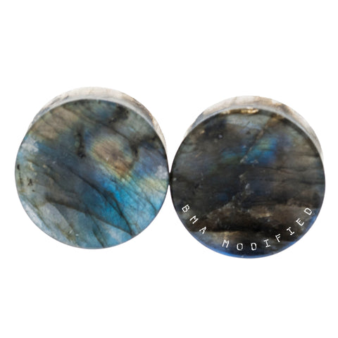 High Flash Labradorite Concave Thick Stone Plugs (27mm) #7648