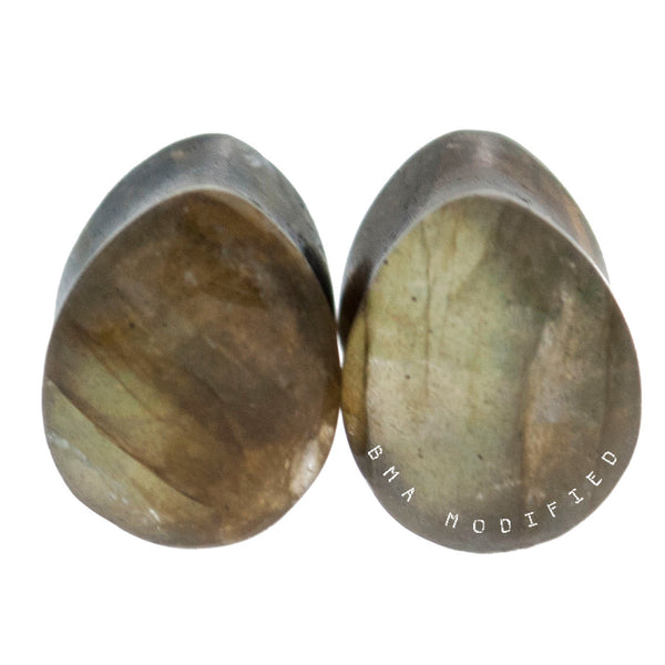 Moss Green High Flash Labradorite Teardrop Stone Plugs (00g) #7659