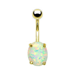 Natural Opal Solid Gold Simple Navel Ring