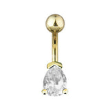 Modest Tear Drop 14kt Gold Plated Navel Ring