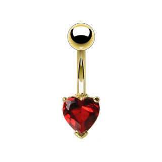 Heart CZ Simple Navel Ring