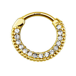 14Kt Gold Enchanting Round CZ Septum Clicker