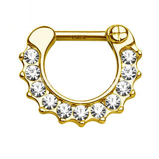 14Kt Gold Round Scalloped CZ Septum Clicker