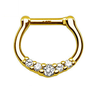 14Kt Gold Five CZ Septum Clicker