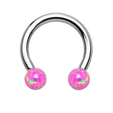 Synthetic Opal Horseshoe Circular Barbell