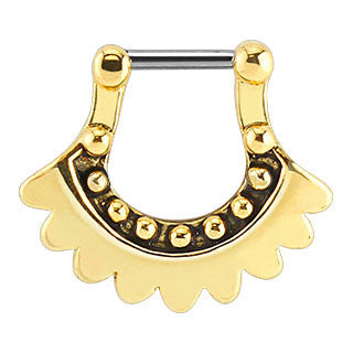 Gold Plated Tribal Lace Bar Septum Clicker