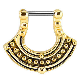 Gold Plated Tribal Pattern Bar Septum Clicker