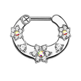 Flower Paved CZ Gems Septum Clicker
