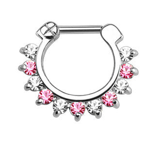 Single Line Pronged CZ Gems Septum Clicker