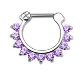 Single Line CZ Gems Septum Clicker