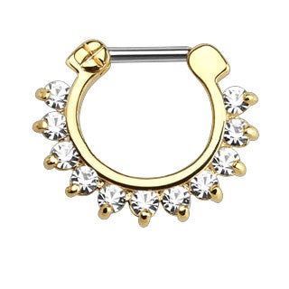 Single Line Pronged CZ Gems Ion Plated Bar Septum Clicker