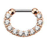 Single Line Paved CZ Gem Septum Clicker