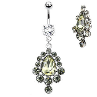Cascading Pear Cut Gem Dangle Navel Ring