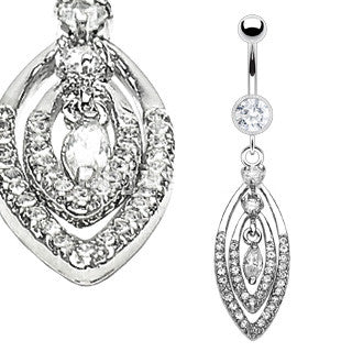 Mutiple Oval Dangle Navel Ring