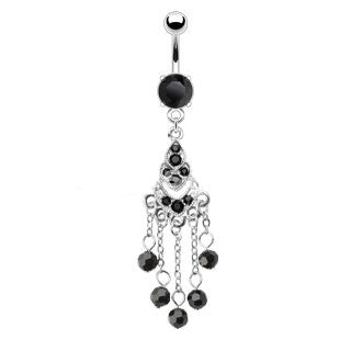 Black Chadelier Drop Dangle Navel Ring
