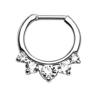 Five Pronged CZ Septum Clicker Ring