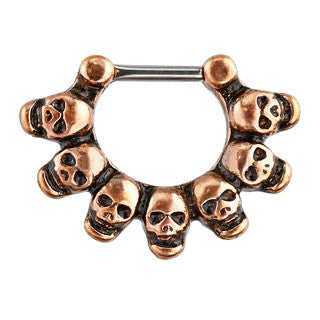 Brushed Linked Skulls Septum Clicker Ring