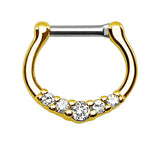 Five-Gems CZ Septum Clicker Ring