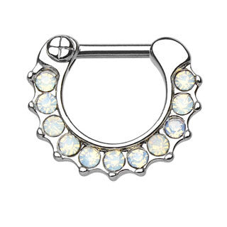 Opalites Paved CZ Septum Clicker Ring