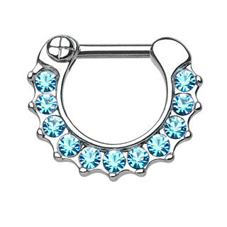 Gem Paved Septum Clicker Ring
