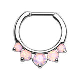 Five Pronged Opalites Septum Clicker Ring