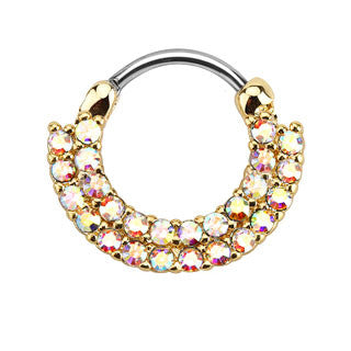 Lined Paved CZ Gems Gold IP Round Septum Clicker
