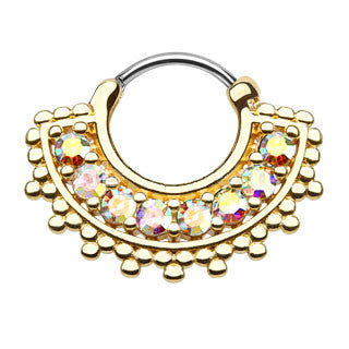 Large Paved CZ Gem Fan Gold IP Septum Clicker