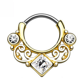 Lace Swirl Gem CZ Gold Septum Clicker