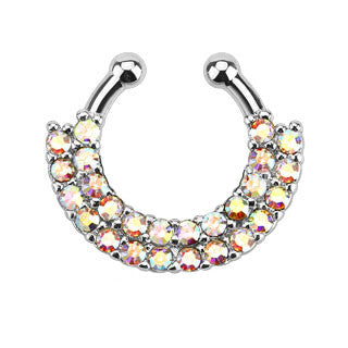 Double Line Paved CZ Gem Faux Septum Hanger