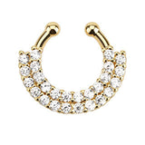 Double Line Paved CZ Gem Gold IP Faux Septum Hanger