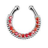 Single Line Paved CZ Gem Faux Septum Hanger