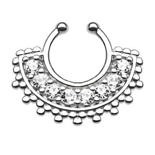 Large Paved CZ Gem Fan Faux Septum Hanger